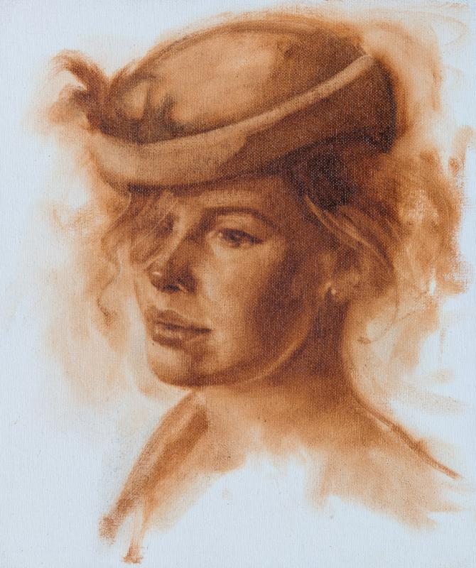 Sandra Sepia oil painting portrait