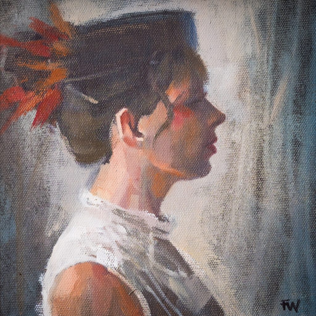 Oil Painting Lady Wearing Pillbox Hat