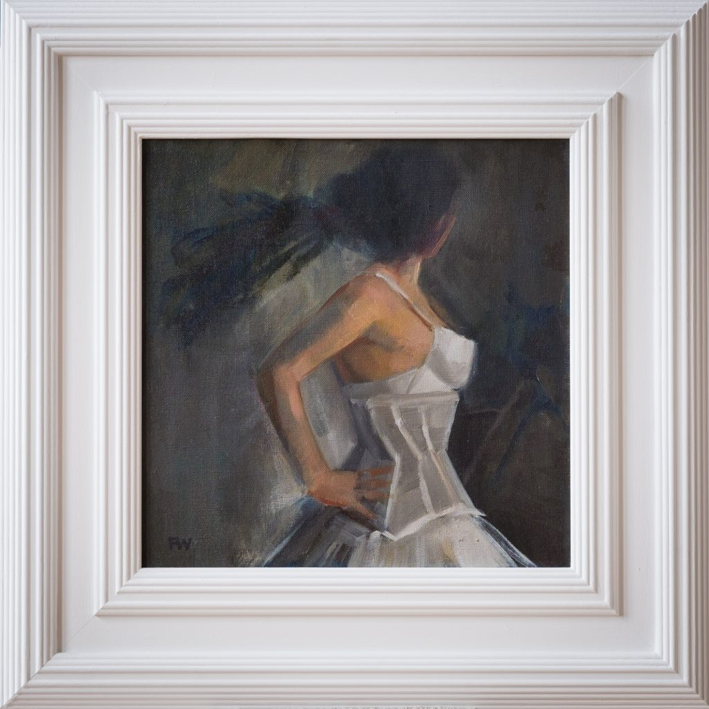 Oil Painting Lady in White Corset