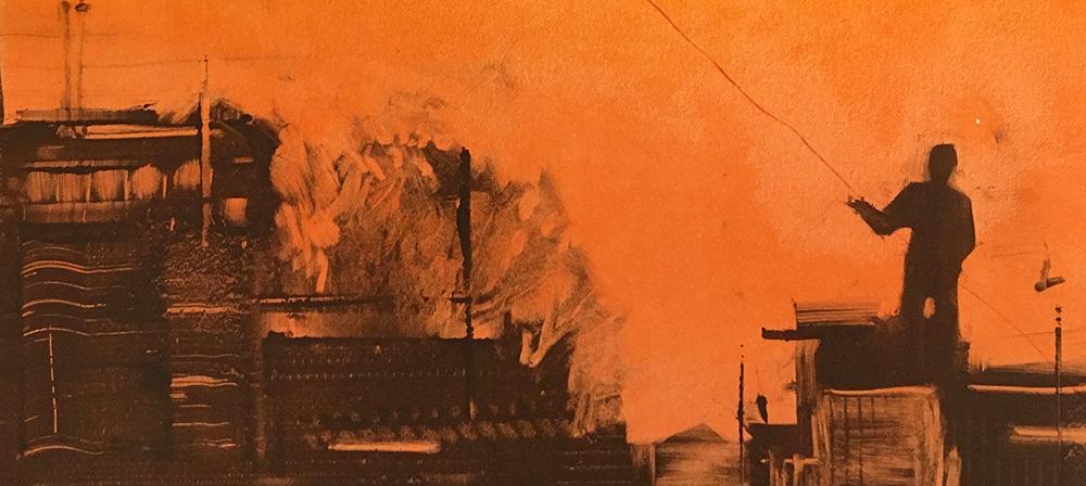 mono print of kite flyer orange sky india