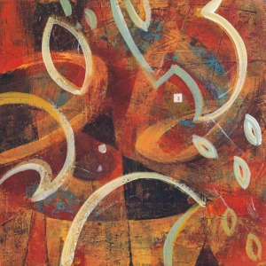 Burning Embers - Abstract Painting by Fiona Wilson Fine Art