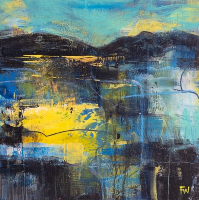 Lemon Skies - Abstract Painting by Fiona Wilson Fine Art