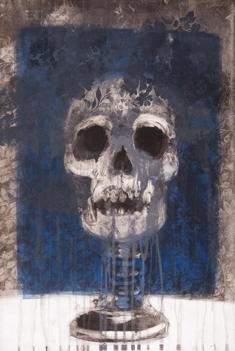 Pedestal Skull - Fiona Wilson Fine Art Printmaking