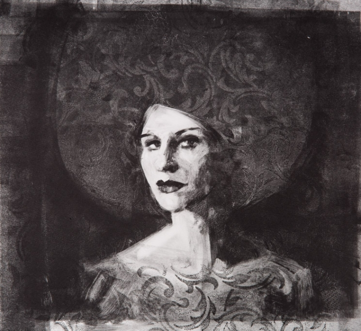 Baroque-Haired Lady - Fiona Wilson Fine Art Printmaking