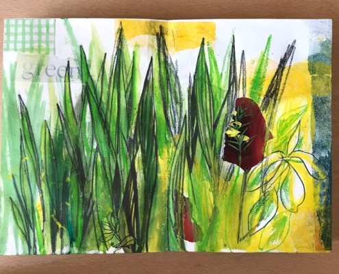 Concertina Sketchbook Page - Kitchen Table Art Project - Fiona Wilson