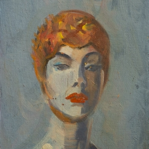 Orange Swim Cap - Oil Painting by Fiona Wilson Fine Art