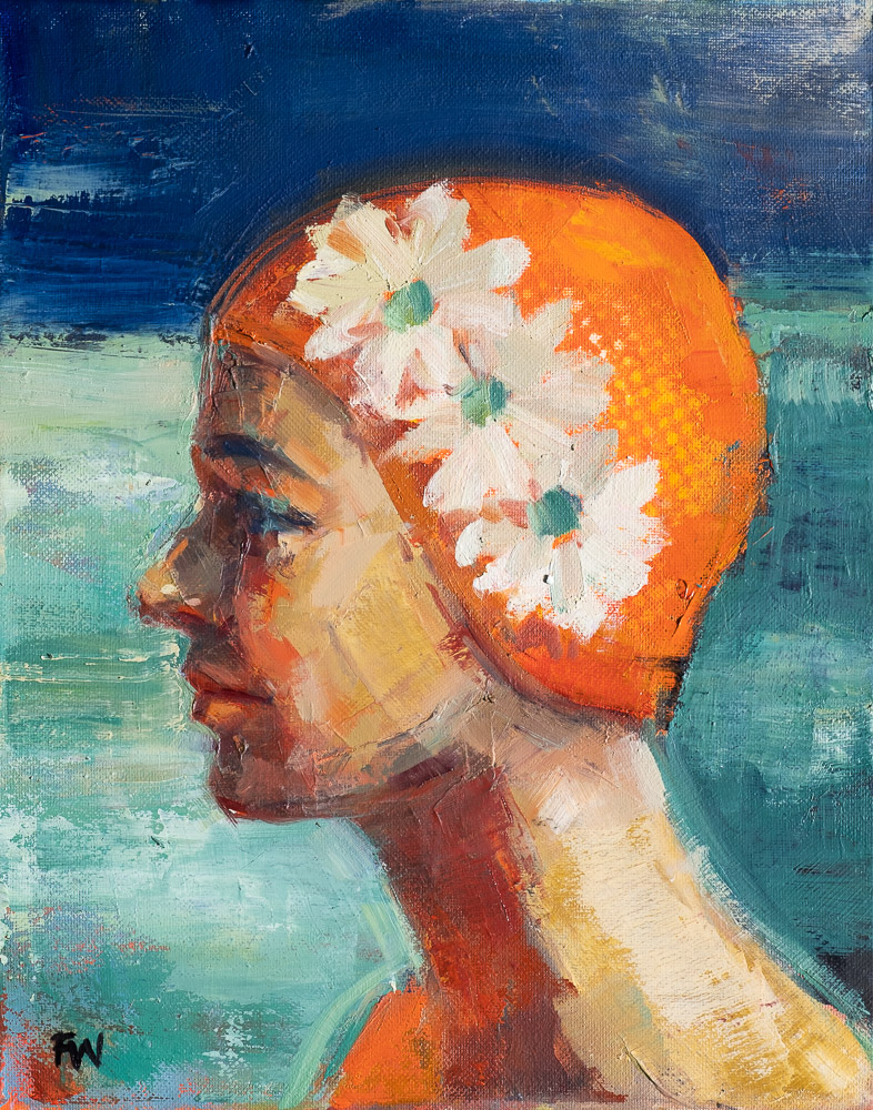 Chrysanthemum Hat - Swimcap Series by Fiona Wilson