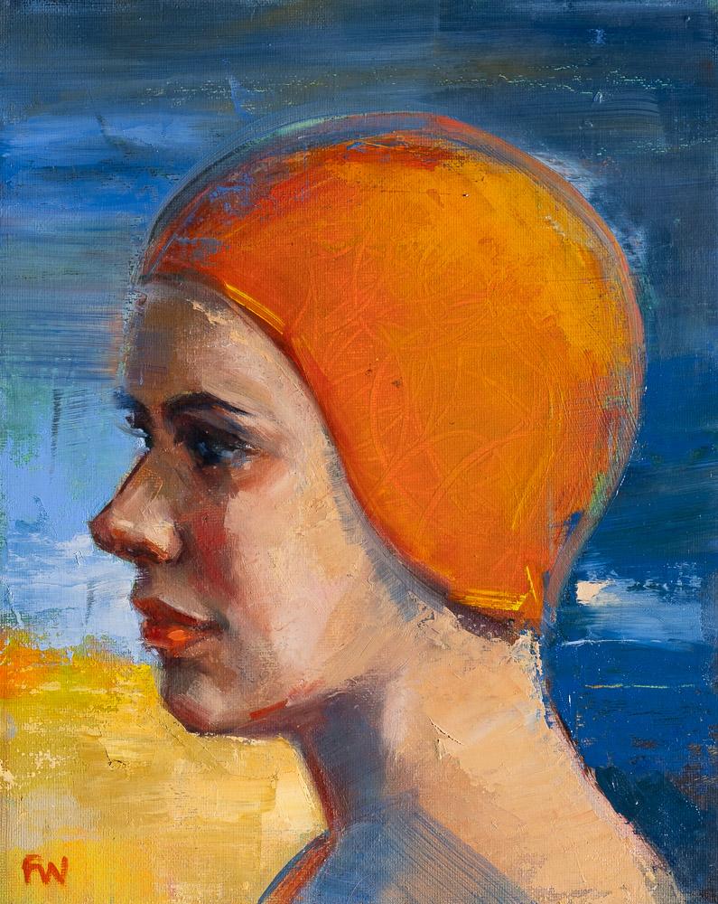 Cobalt and Cadmium - Swimcap Series by Fiona Wilson