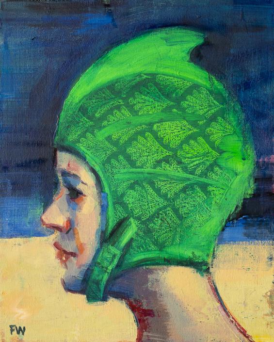 Green Meanie - Swimcap Series by Fiona Wilson