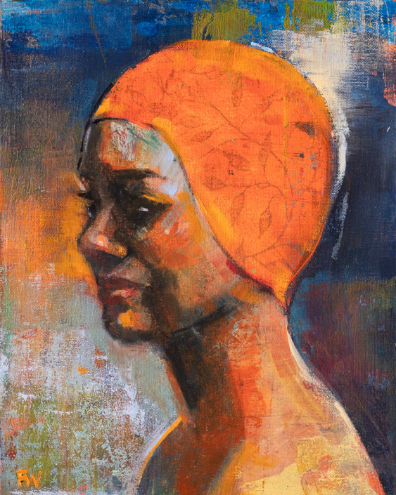 Pensive Swimmer - Swimcap Series by Fiona Wilson