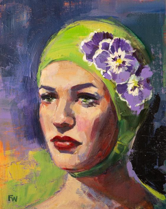 Purple Pansies - Swimcap Series by Fiona Wilson