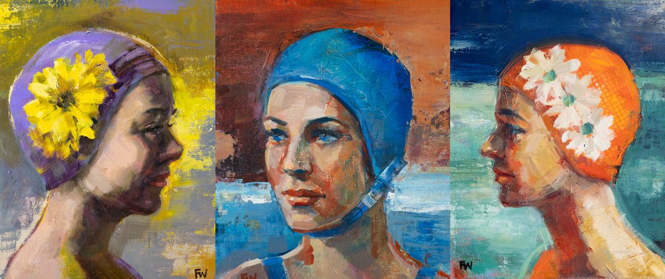 Swimcap Series of Paintings