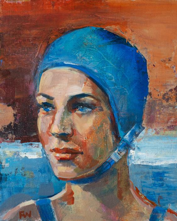 Winter Blue - Swimcap Series by Fiona Wilson